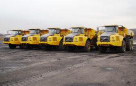 Vijf Volvo A35E dumpers aan het werk bij Hendrik