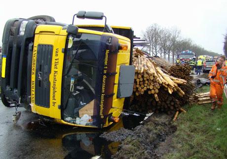 vrachtwagen kantelt op n48 zuidwolde - bouwmachines