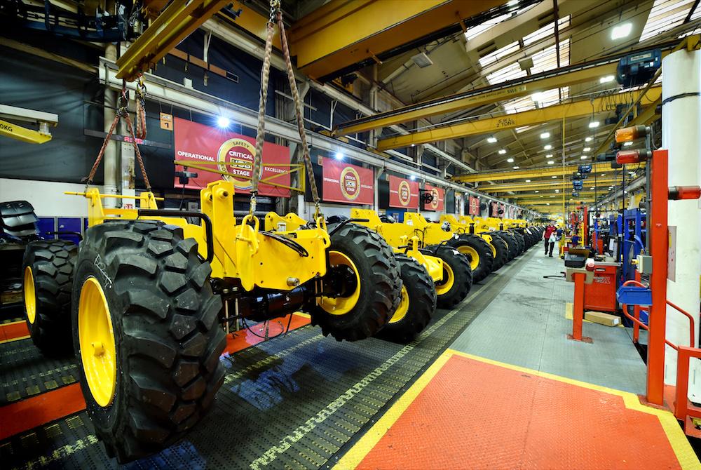 <p>De assemblagelijn van de JCBverreikers. JCB bouwtverreikerssinds 1977. Afgelopen jaar werd de mijlpaal van 200.000 geproduceerdeverreikersbereikt.</p>