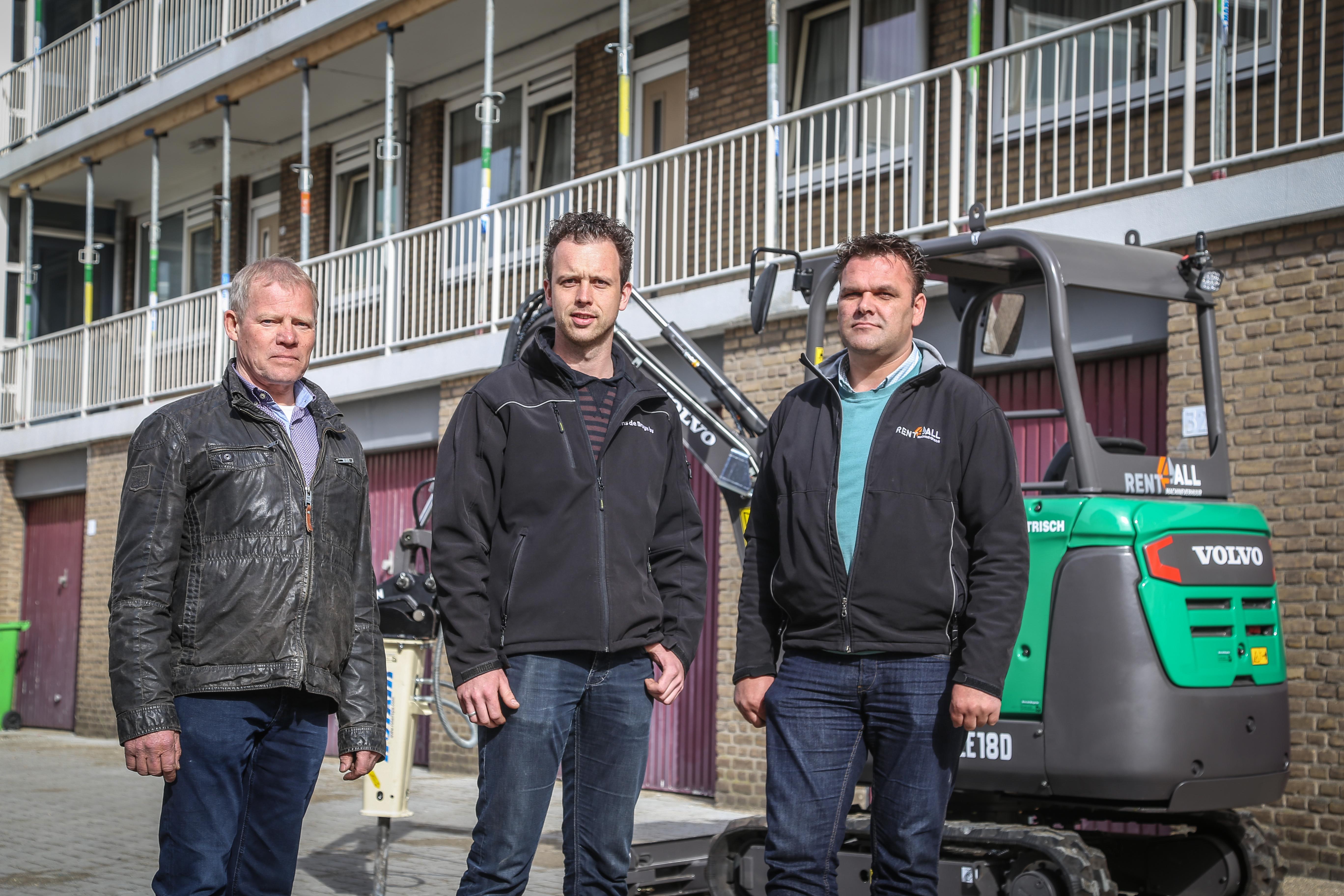 <p>De mannen achter de techniek. Van links naar rechts: Rens de Bruijn, Bas Lieftink en Gert van de Zandschulp (Rent4All).</p>