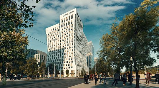 Hourglass: een zandlopervormig gebouw van 80 meter hoogte op de Amsterdamse Zuidas.